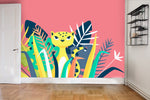 3D cat leaves wall mural wallpaper 81