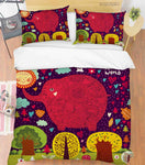 3D Hand Drawn Animal Elephant Forest Quilt Cover Set Bedding Set Duvet Cover Pillowcases 145 LQH