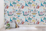3D Cartoon Tree Plant Floral Dinosaur Animal Wall Mural Wallpaper LXL 1517