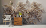 3D Relief Flowers Wall Mural Wallpaper SF42