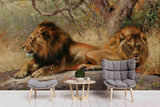 3D Realistic Grassland Lion Animal Wall Mural Wallpaper LXL 1628