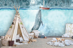 3D Bluish Watercolor Whale Wall Mural Wallpaper 42 - Jessartdecoration