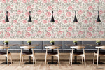 3D Hand Sketching Pink Floral Leaves Wall Mural Wallpaper LXL 1237