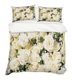 3D White Rose Floral Quilt Cover Set Bedding Set Pillowcases 38
