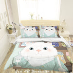 3D Cartoon Cat Quilt Cover Set Bedding Set Pillowcases 75