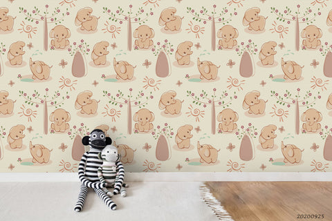 Cartoon Sunny Floral Elephant Animal Wall Mural Wallpaper LXL