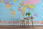 3D Blue World Map Wall Mural Wallpaper 06