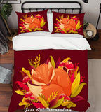 3D Red Flowers Pattern Quilt Cover Set Bedding Set Pillowcases  65