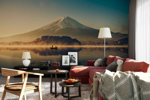 3D Mount Fuji Lake Kawaguchiko Sunrise Vintage Wall Mural Wallpaper 49