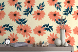 3D Watercolor Dark Pink Floral Wall Mural Wallpaper 59