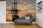 3D Ship Sea Sunset Wall Mural Wallpaper 01 - Jessartdecoration