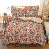 3D Hand Drawn Pink Floral Pattern Quilt Cover Set Bedding Set Duvet Cover Pillowcases 100