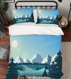 3D Blue Moon Mountains Forest River Meteor Quilt Cover Set Bedding Set Pillowcases 21
