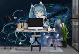 3D Fantasy Cartoon Girl Telescope Wall Mural Wallpaper WJ 2016