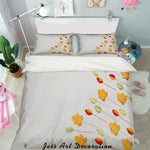 3D Yellow Maple Leaves Quilt Cover Set Bedding Set Pillowcases 64