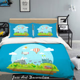 3D Blue Mountains Trees House Bike Aircraft Solar Energy Quilt Cover Set Bedding Set Pillowcases 76