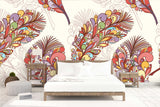3D colorful leaves wall mural wallpaper
