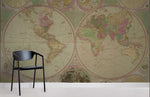 3D Retro Detail World Map Wall Mural Wallpaper 01 - Jessartdecoration