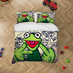 3D Abstract Letters Graffiti Frog Quilt Cover Set Bedding Set Pillowcases JN 078