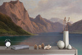 3D mountains lakes oil painting wall mural wallpaper 1