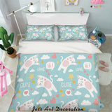 3D White Cartoon Cats Quilt Cover Set Bedding Set Pillowcases 78
