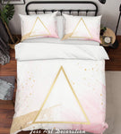 3D Golden Triangle Pink Quilt Cover Set Bedding Set Pillowcases 01
