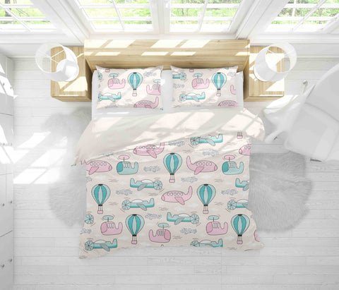 3D Pink Blue Aircraft Helicopter Hot Air Balloon Quilt Cover Set Bedding Set Pillowcases 18