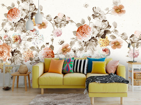 3D Watercolor Vintage Floral Wall Mural Wallpaper 25 - Jessartdecoration