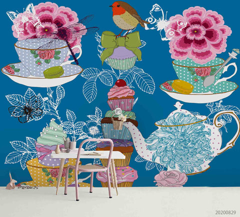 3D Vintage  Colorful Floral Tea Cup Teapot Wall Mural Wallpaper LXL 1577