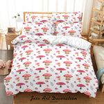 3D Hand Drawn Pink Mushroom Quilt Cover Set Bedding Set Duvet Cover Pillowcases 22