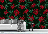 3D red flowers wall mural wallpaper 86