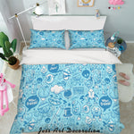3D Blue Cartoon Pattern Quilt Cover Set Bedding Set Pillowcases 90