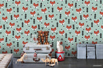 Cartoon Fox Animal Green Tree Plant Blue Wall Mural Wallpaper LXL