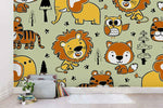 3D Cartoon Animal Lion Fox Wall Mural Wallpaper A208 LQH