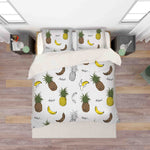 3D Pineapple Banana Stripes Quilt Cover Set Bedding Set Pillowcases 62