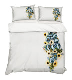 3D Blue Yellow Floral Quilt Cover Set Bedding Set Pillowcases 22