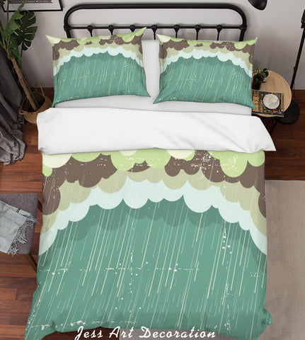 3D Green Clouds Rain Quilt Cover Set Bedding Set Pillowcases 36