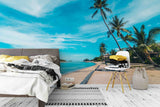 3D blue sky coconut tree wall mural wallpaper 14