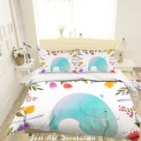 3D Cartoon Elephant Flower Quilt Cover Set Bedding Set Pillowcases 52