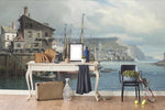 3D seaside fishing village oil painting wall mural wallpaper 63