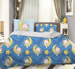 3D Blue Moon Star Cat Kitty Quilt Cover Set Bedding Set Pillowcases 75
