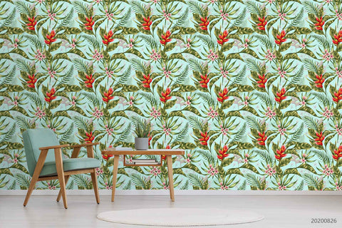 3D Hand Sketching Red Floral Green Leaves Plant Wall Mural Wallpaper LXL 1340