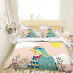 3D Cartoon Bird Green Quilt Cover Set Bedding Set Pillowcases 73