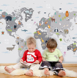 3D Cartoon Children's World Map Wall Mural Wallpaper 67
