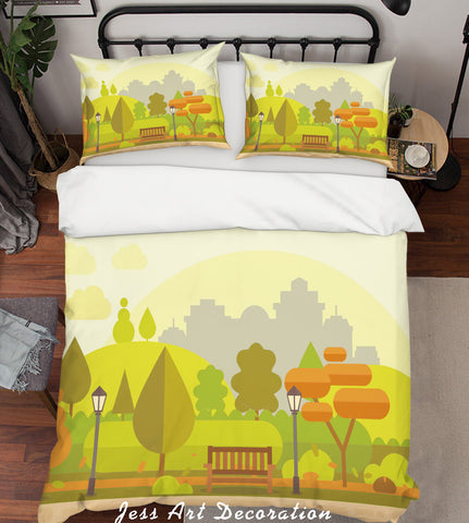 3D Cartoon Green Plants Quilt Cover Set Bedding Set Pillowcases 27