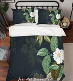 3D White Flowers Green Leaves Quilt Cover Set Bedding Set Pillowcases 189