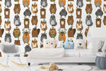Cartoon Owl Bear Buck Animal Wall Mural Wallpaper LXL