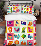 3D Hand Drawn Colorful Animals Quilt Cover Set Bedding Set Duvet Cover Pillowcases 132 LQH