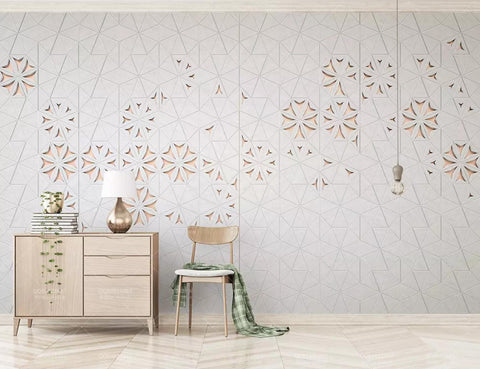 3D White Background Flowers Carving Effect Wall Mural Wallpaper 334
