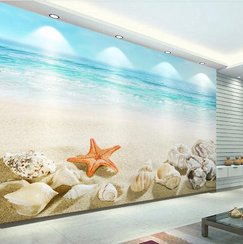 3D Blue Sea Beach Sky Wall Mural Wallpaper 300